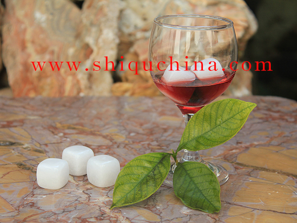 White jade cube stone for whiskey